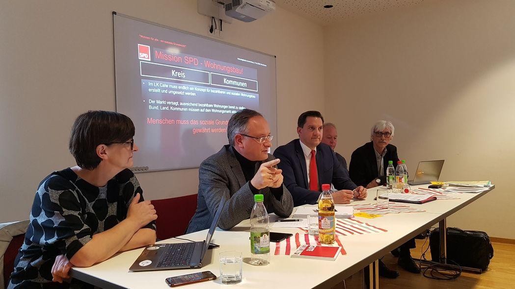 Von links nach rechts: Saskia Esken, Andreas Stoch, Johannes Fechner, Andreas Reichstein, Lothar Kante